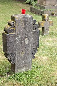 kirkegård, gravsten, Cross, gamle, grav, død, grav