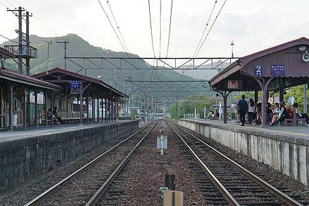 spår, landsbygd, tåg, Station, elektriska tåg, Japan