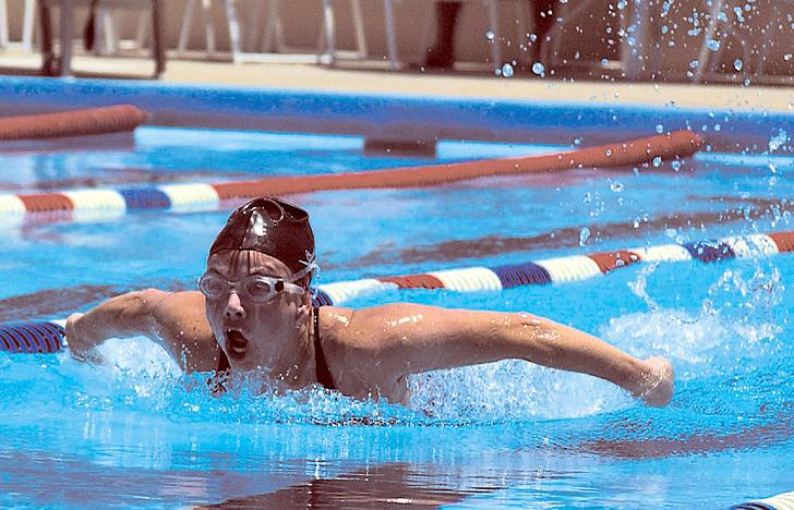 nedador, papallona, l'aigua, piscina, competència, nedar, atleta