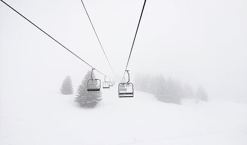 negre, cable, cotxe, neu, cobert, muntanya, minimalista