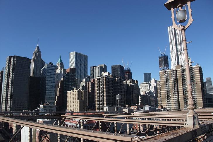 new york, building, blue sky, city, skyscraper, big city
