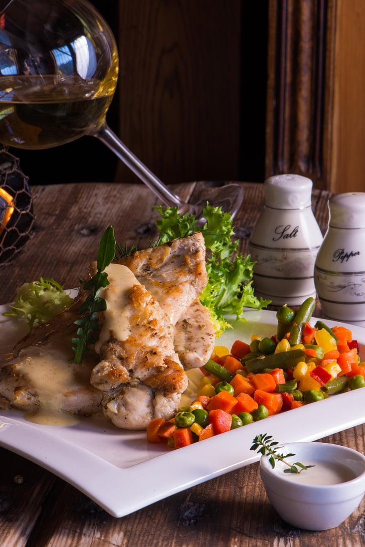 aliments, vi, gurmet, Amanida, sopar, àpat, carn
