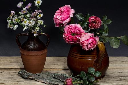 bodegons, flors, Roses, flascó, fusta