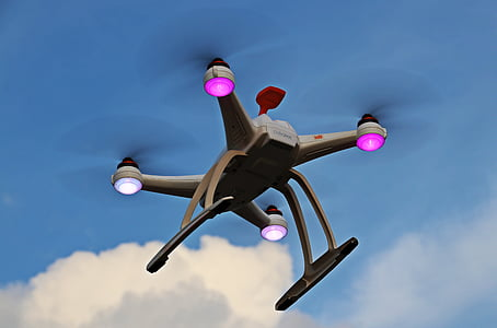 abellot, UAV, cel, núvols, quadrocopter, volar, robot
