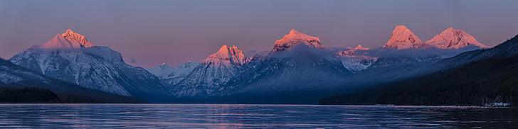 Llac mcdonald, posta de sol, nit, capvespre, crepuscle, paisatge, escèniques