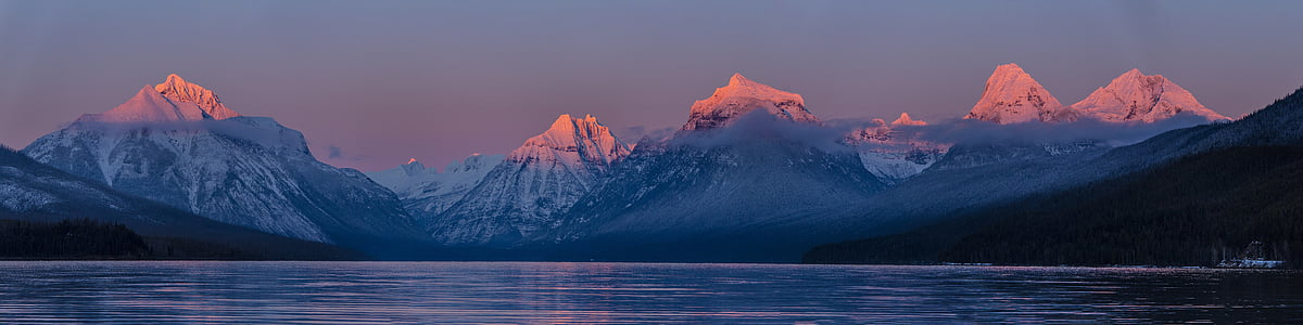 lake mcdonald, sunset, evening, dusk, twilight, landscape, scenic