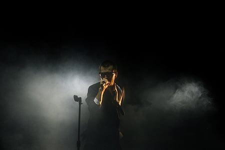 koncert, sötét, fény, ember, zene, zenész, teljesítmény