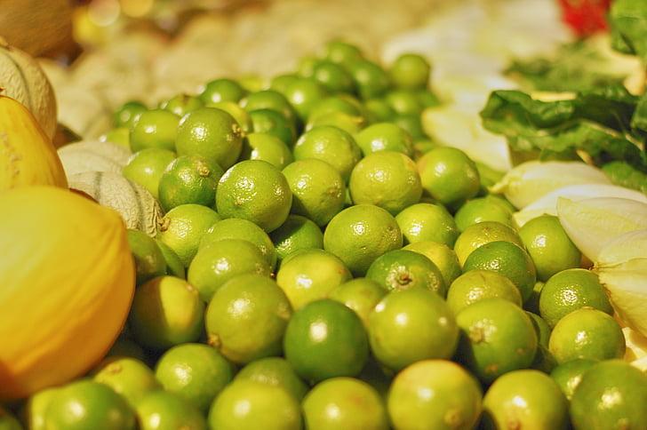 frutta e verdura, frutta, Limes, verde, melone, negozio, mercato