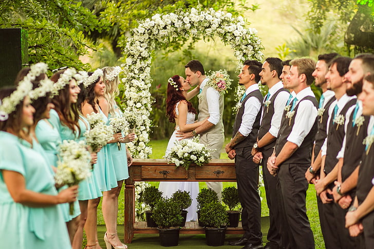 matrimoni, camp, padrins, mitjan adult, Unió, celebració, homes adults mitjans