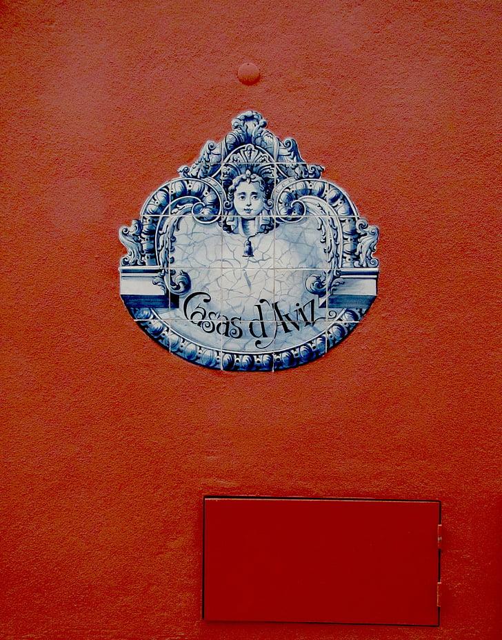 plaatide, seina, Dekoratiivne, element, maali, Portugal, punane