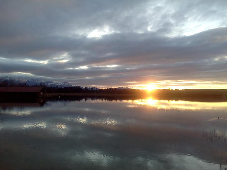 일몰, abendstimmung, 황혼, 호수