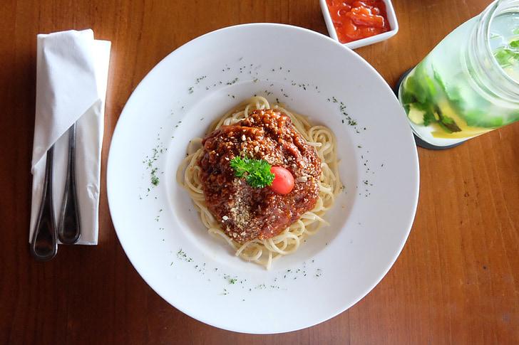 food, spaghetti, pasta, italian, italian food, meal, culinary