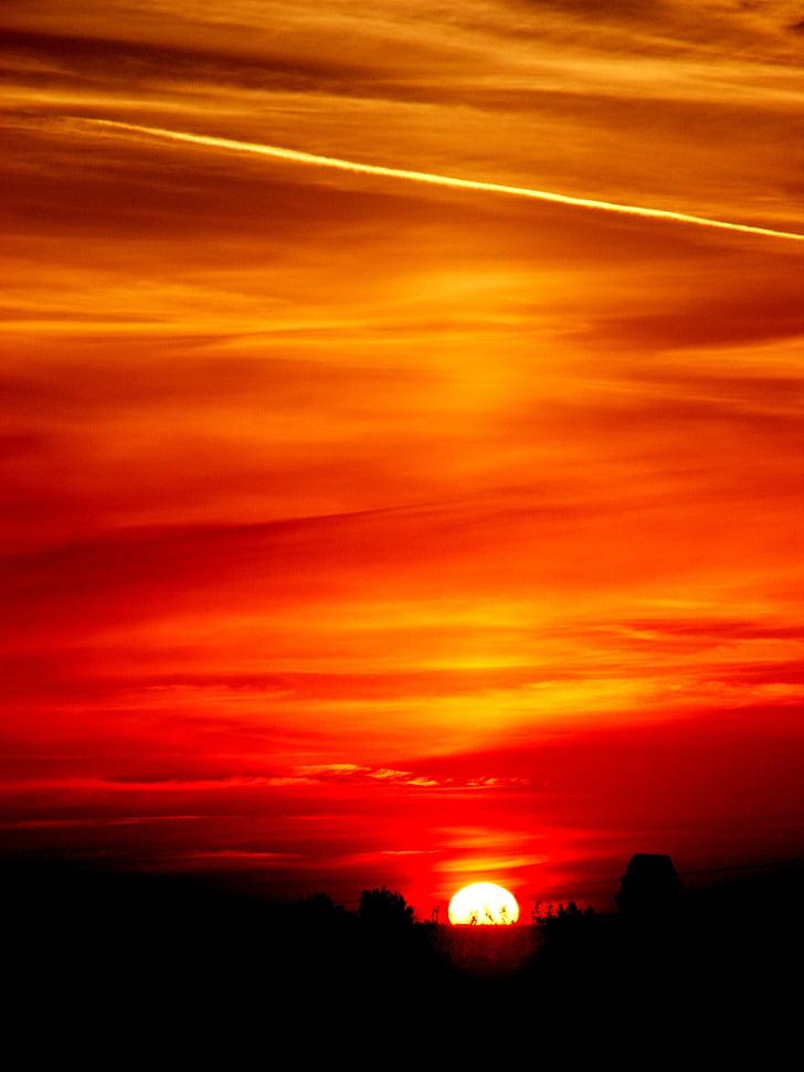 solen, Sky, molnet, röd, Twilight, Stripes, solnedgång