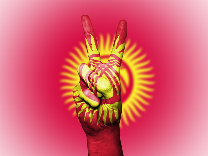 kyrgyzstan, peace, hand, nation, background, banner, colors