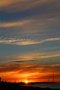 ηλιοβασίλεμα, Ήλιος, Elbe, Ήλιος και θάλασσα, βραδινό ουρανό, abendstimmung, Ρομαντικές αποδράσεις