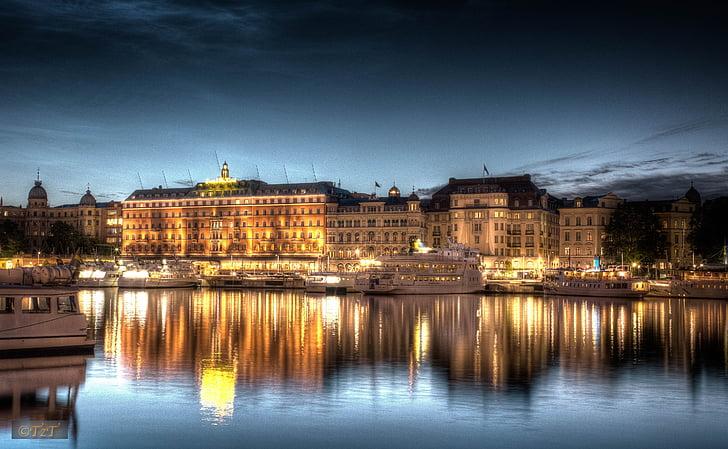 Estocolmo, tiro a noite, à noite, HDR