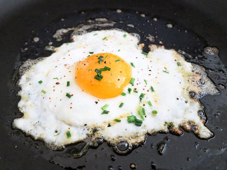 gebraten, Ei, Eigelb, Frühstück, Spiegeleier, Pfanne, Protein