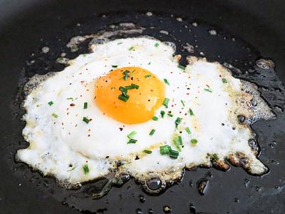 cepts, olu, olas dzeltenums, Brokastis, ceptas olas, panna, proteīns