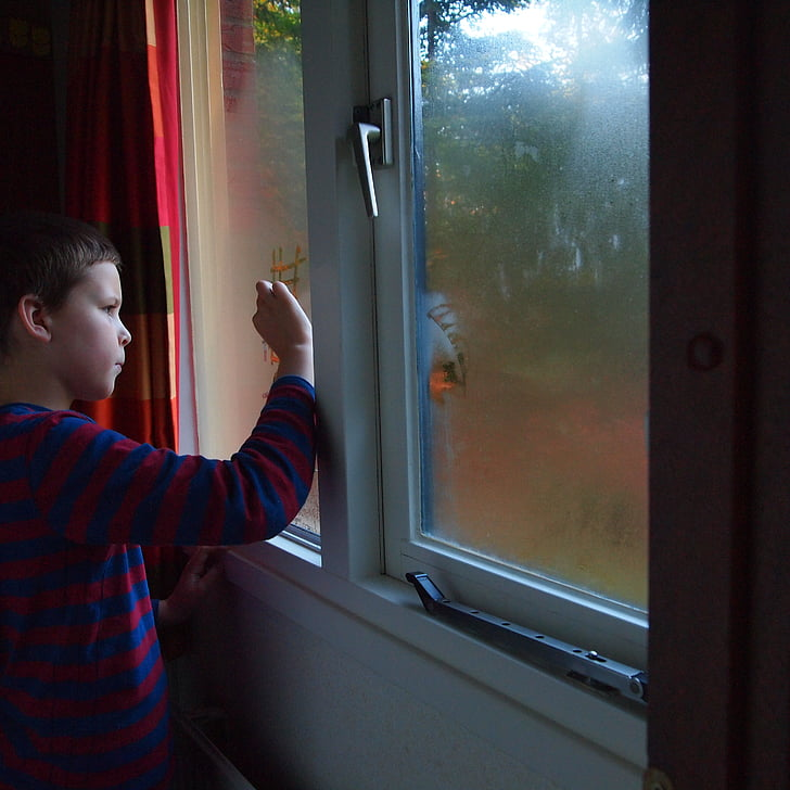 fogged window, boy, signs, autumn, artist, lighting, child