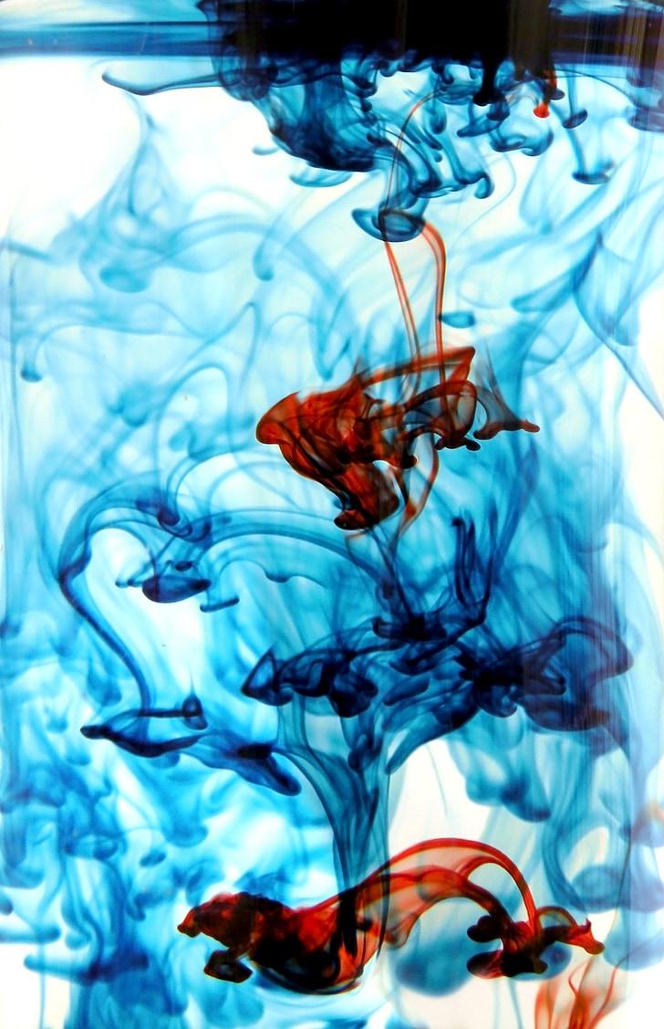 izvleček, vodene barve, tekočina, ozadja, modra, teče, gibanja