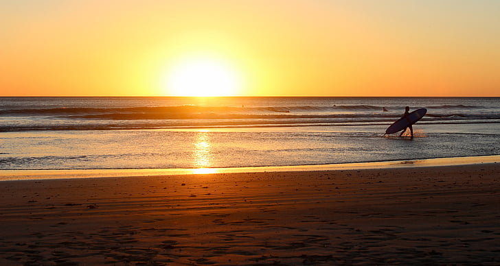 stranden sunrise, Seaside, Surfer, Sunrise beach, gyllene, solljus, Utomhus