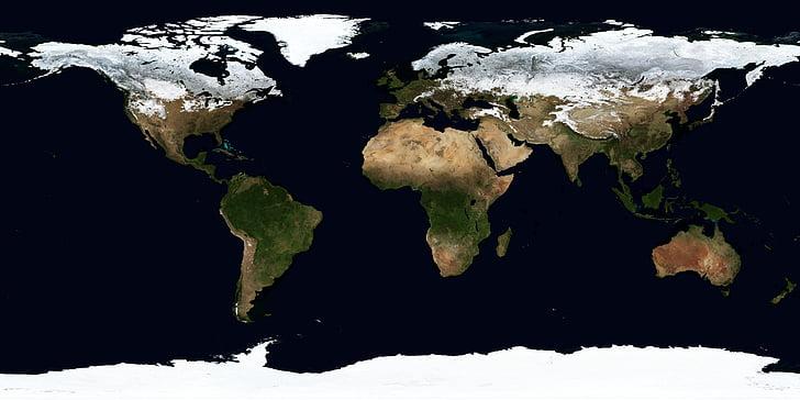 zemes, karte, ziemas, Janvāris, kontinenti, klimata joslas, Aerial view