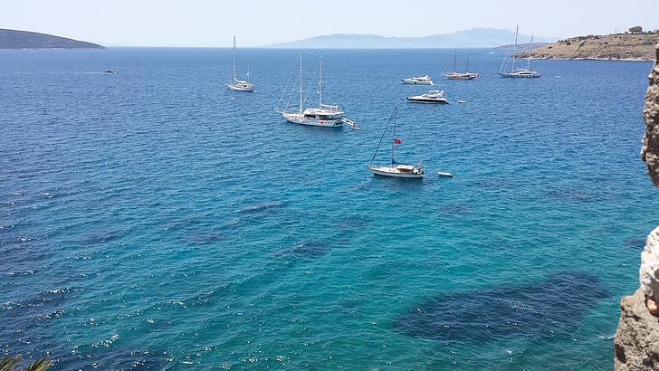 Bodrum, morje, sredozemski, jahte, modra, Turkizna