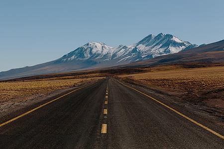 nero, strada, fotografia, montagna, autostrada, Aprire la strada, catena montuosa