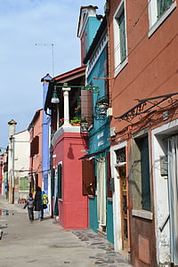 เวนิส, กิโลเมตร, อิตาลี, burano, สี, บ้านที่มีสีสัน, สตรีท
