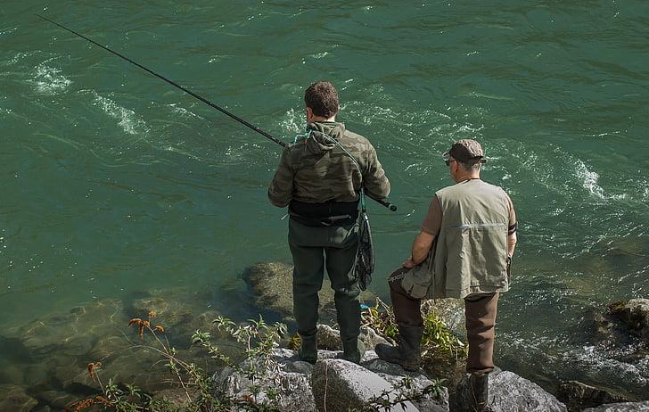 fishermen, fishing, fishing rod, leisure, water courses, rear view, standing