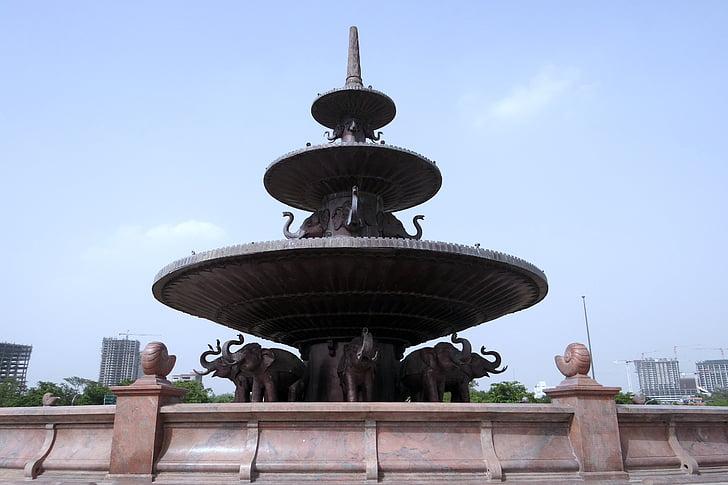 Dalit Ella sthal, emlékmű, szökőkút, homokkő, Noida, India
