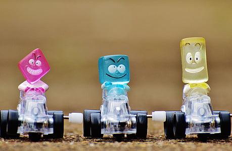 cotxes de carreres, figures, divertit, joguines, nens, colors, valent
