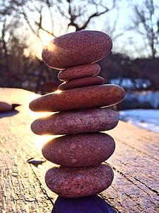 pedres apilades, relaxar-se, equilibri, Roca, pedra, Zen, harmonia