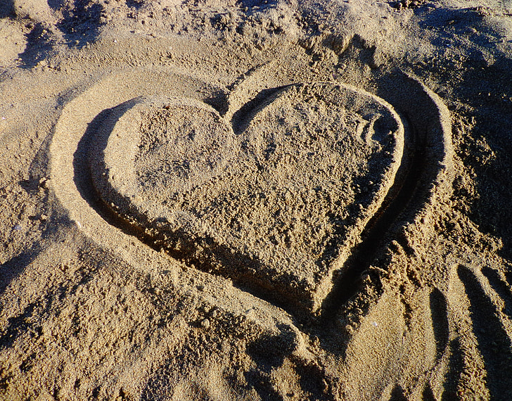 heart, love, sand, in love, lover