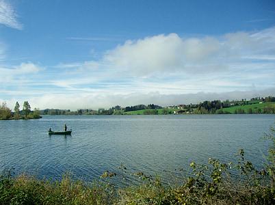 gruentensee, vaixell de pesca, verd, blau, bota, Llac, barca de rems
