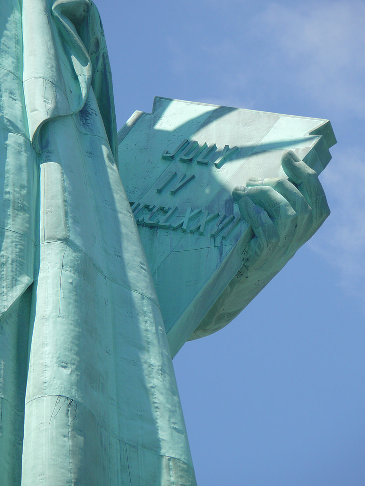 close up image of lady liberty, lady liberty close up, book inscription, close up lady liberty hand, patriotism, history, liberty