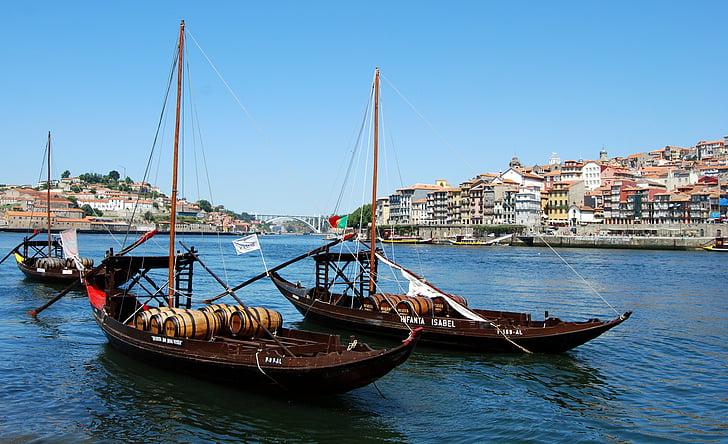 paat, vana, barrel, Oporto, Portugal, jõgi, veini