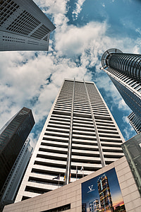 arsitektur, pencakar langit, CBD, Singapura, adegan perkotaan, modern, eksterior bangunan