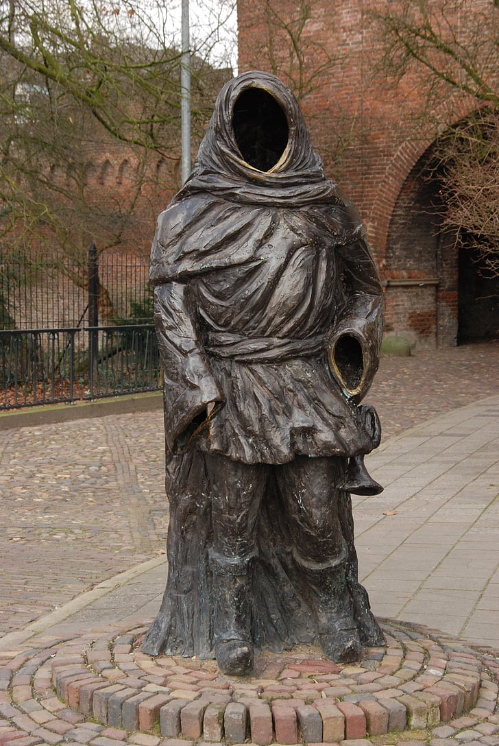 netherlands, zutphen, image, statue, city trumpeter, thonis of roller, drogenap