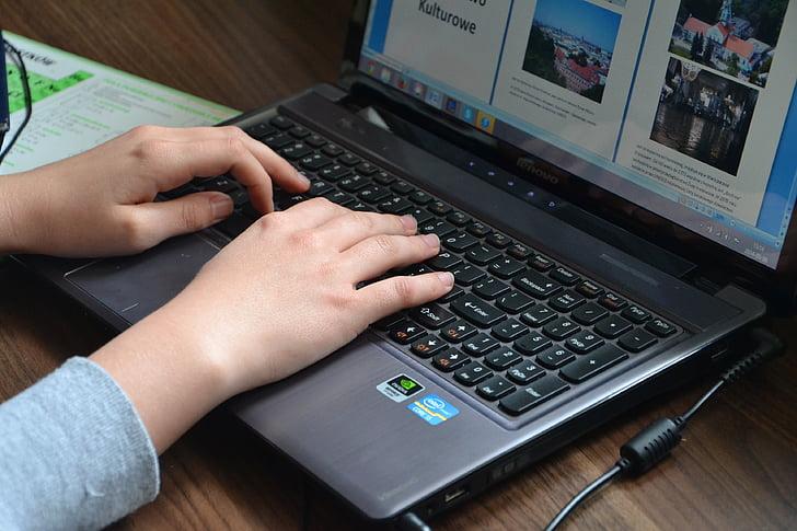 ordinador, ordinadors, teclat, equips, electrònica, ús, d'escriure