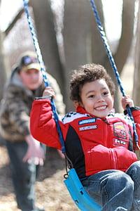 swinging, playground, kids, children, boys, playing, swing