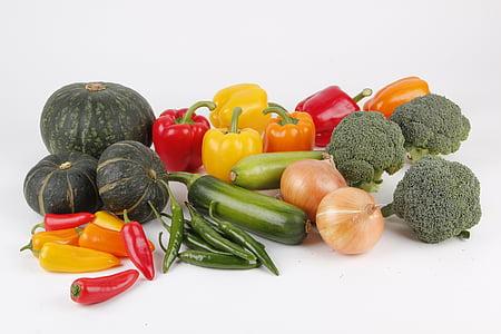zöldség, növényi gyűjtemények, édes sütőtök, hagyma, zöld paprika, paprika, v. helyi li