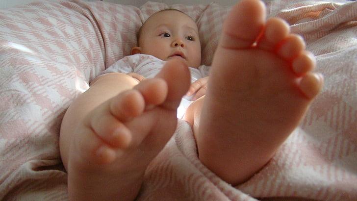 beba, noge, dijete, Opusti se, bos, djevojka, prste