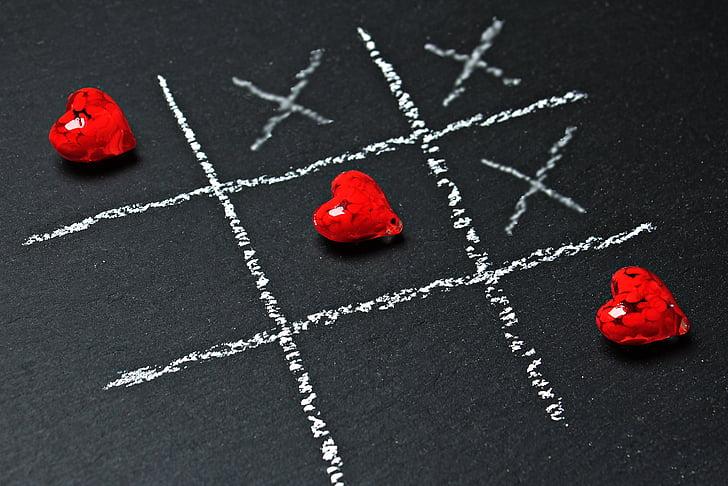 tic tac nožni prst, ljubav, srce, igrati, ankreuzen, strategija igra, dvoje ljudi
