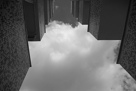 Teras, langit, balkon, perumahan, perumahan, mencari, blok