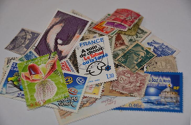 postimerkkejä, Lahjatavarat, kokoelma, Ranskan postimerkkejä, postimerkkien keräily, valuutta, paperi valuutta