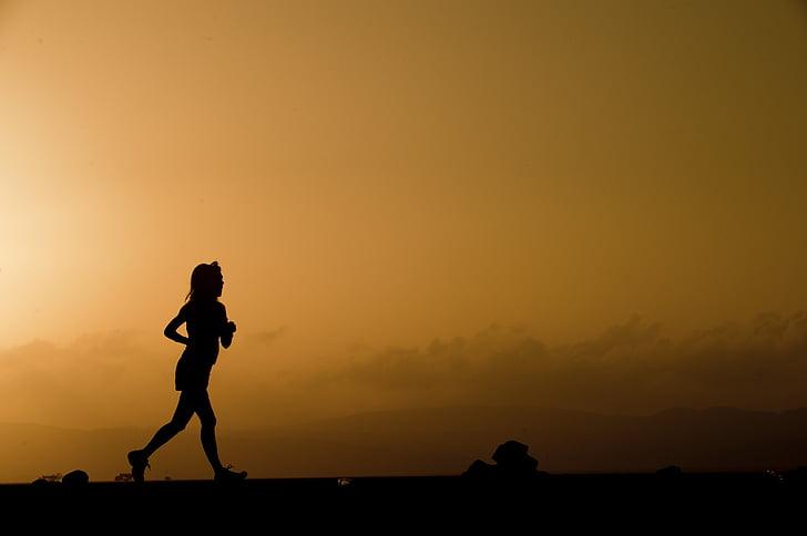 silueta, corredor de la, mujer, funcionamiento, puesta de sol, Crepúsculo, al atardecer