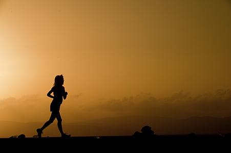 obris, tekač, ženski, tekmovanje v teku, sončni zahod, somrak, Mrak