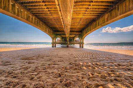 Moll, embarcador, fusta, platja, sorra, Pont, construcció