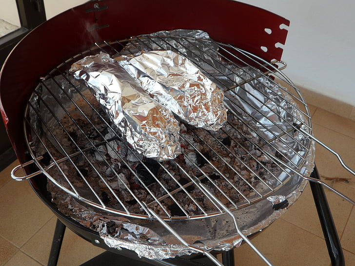 Grill, Grill, Holzkohle-grill, Alu-Folie, verpackt, Grillen Fisch, Grillen